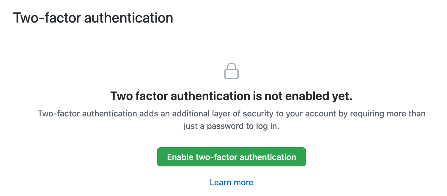 enable two factor auth button