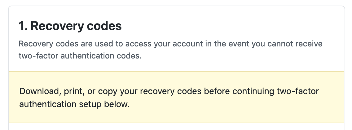 save recovery codes