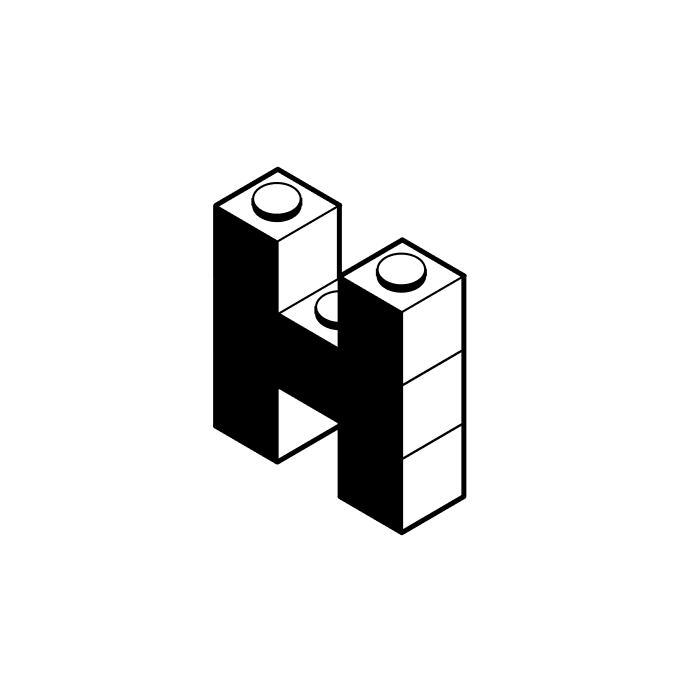 Hyntax project logo — lego bricks in the shape of a capital letter H