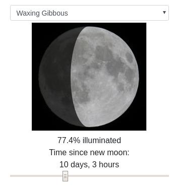 Screenshot of moon phase