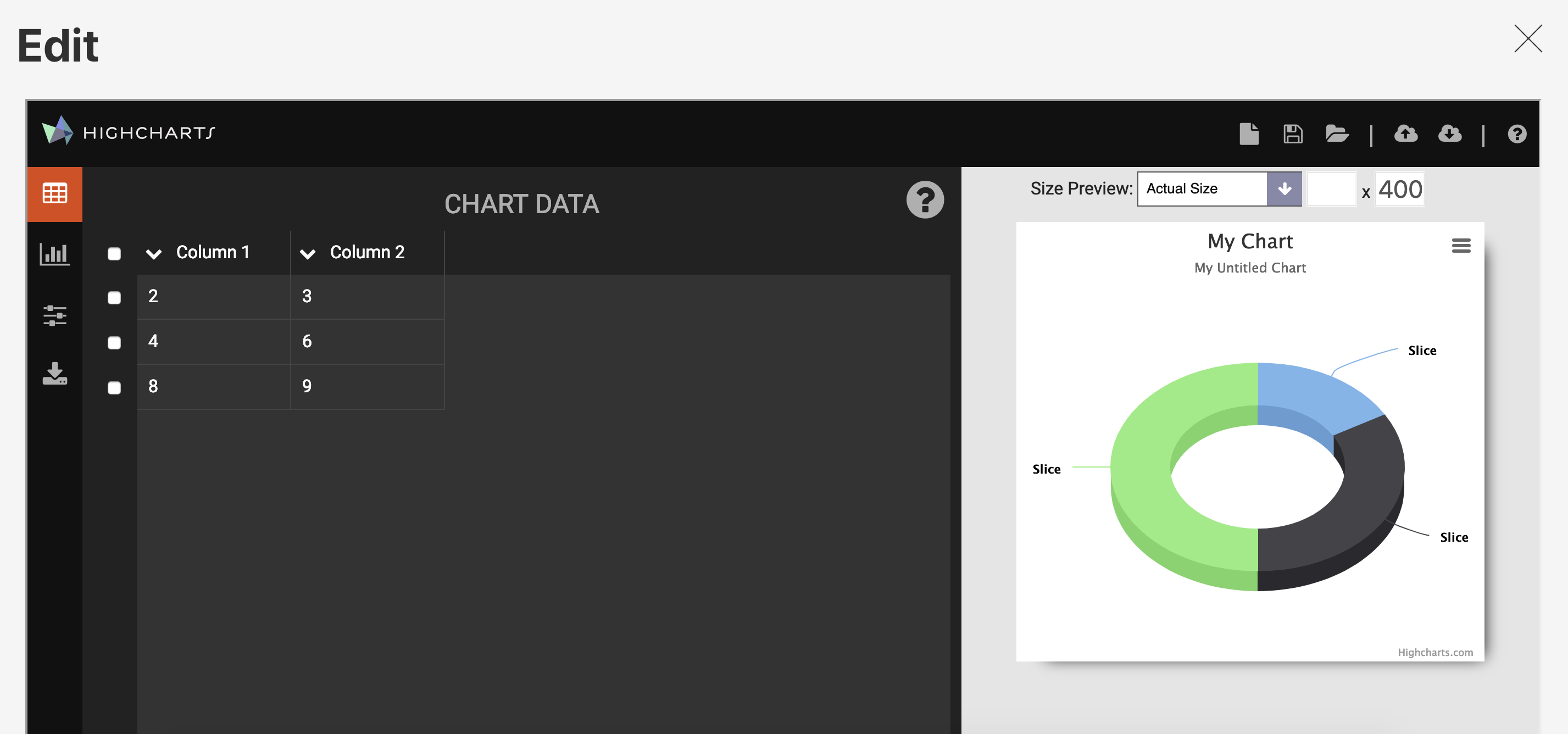 Screenshot of Highcharts Editor in action