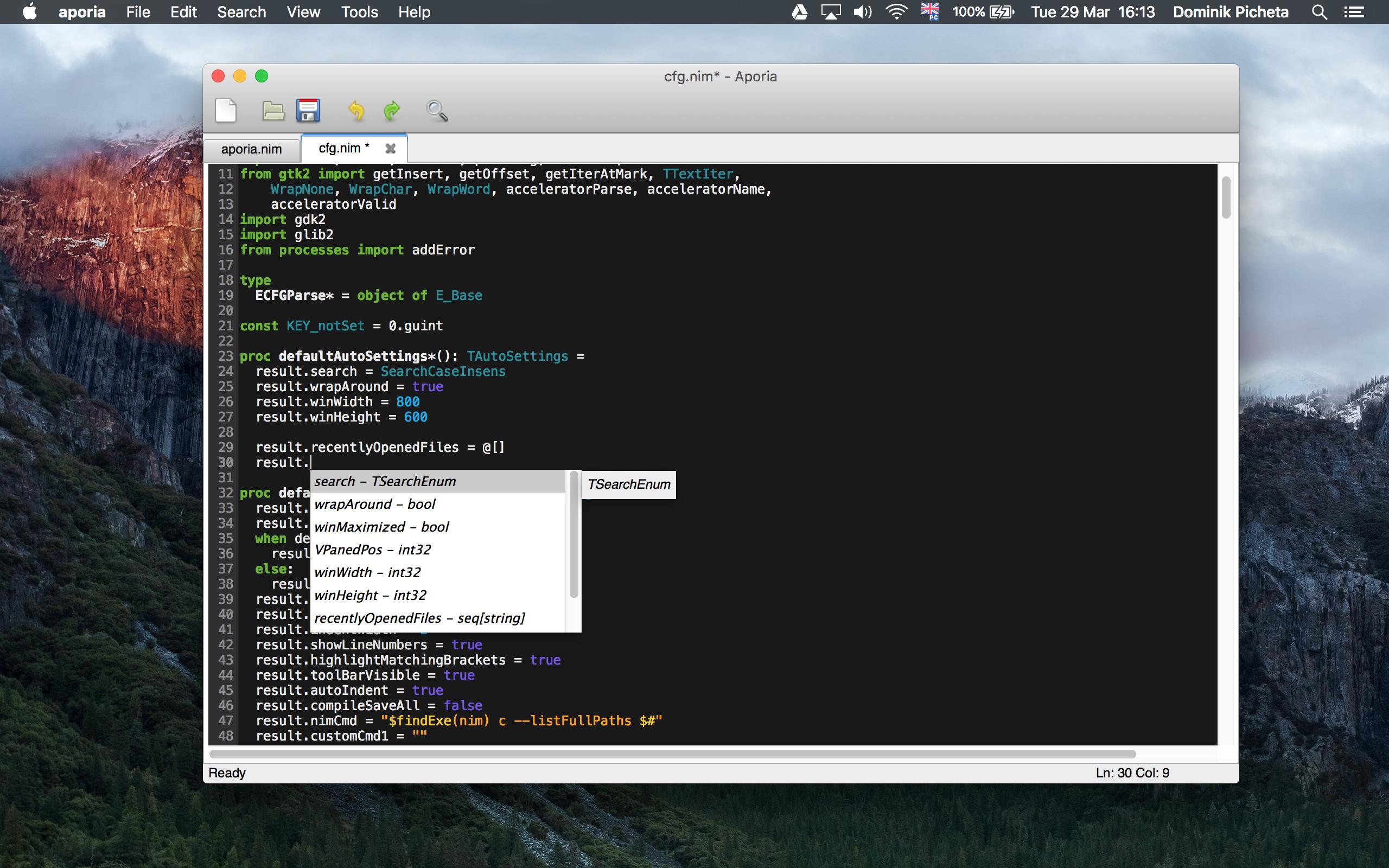Aporia on Mac OS X