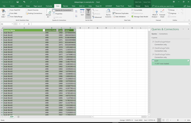 Microsoft Excel UI: GDP Tabular Data Package Worksheet