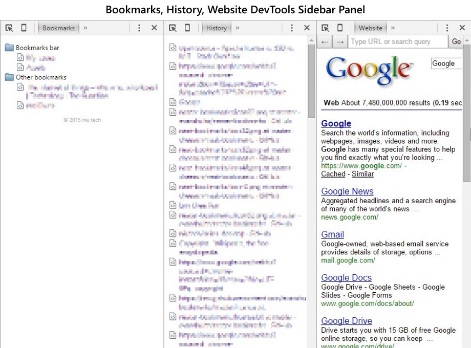 Screenshot of Bookmarks, History, Website DevTools Sidebar Panel