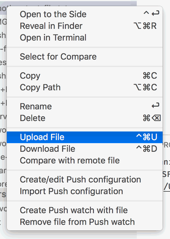 Uploading with the context menu