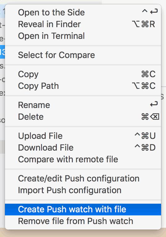 Explorer context menu with watch selected