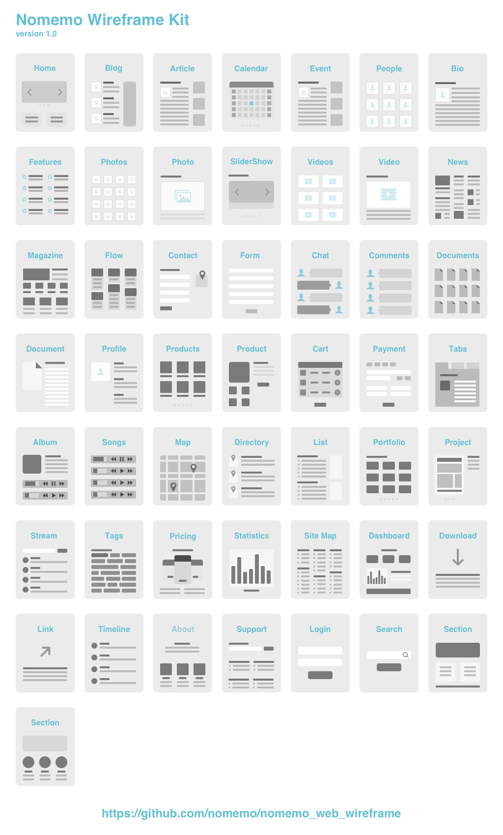 Github Nomemo Nomemo Wireframe Kit Web Wireframe Build By Sketch 3