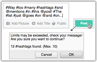 Popup: Mention or Hashtag Limits Exceeded