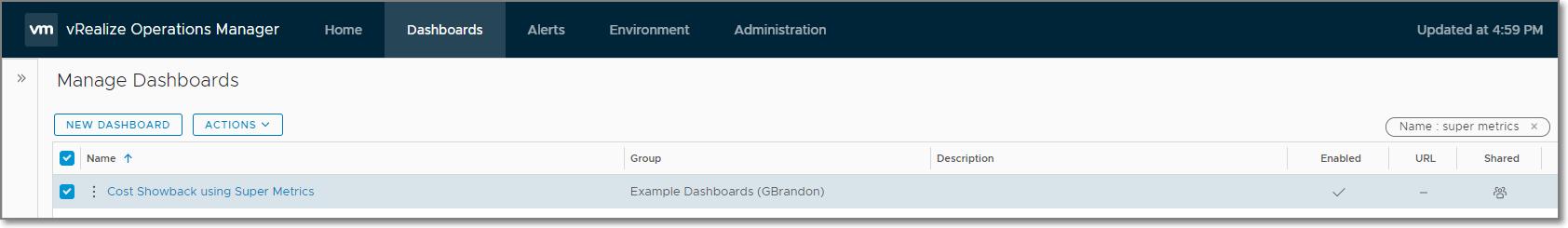 Dashboard List