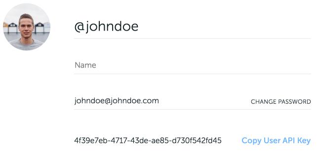 User API Key screenshot