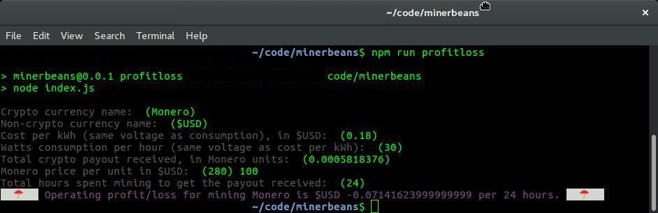 Screenshot of Example Run, Unprofitable
