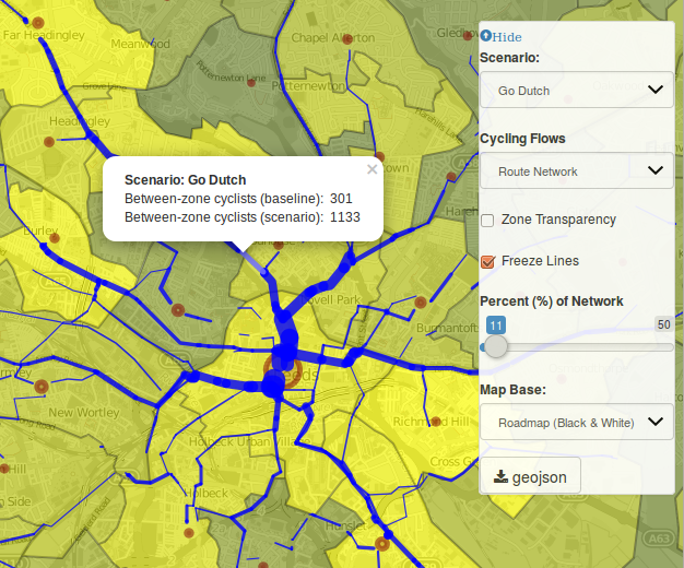 Early version of the route network layer in the Propensity to Cycle Tool.