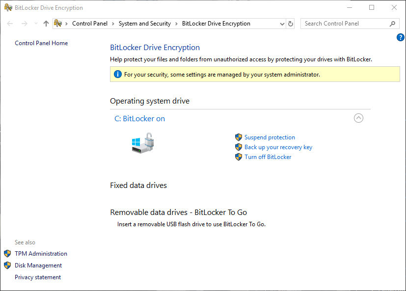 BitLocker Active