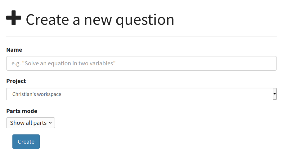 "The ""Create a new question"" form."