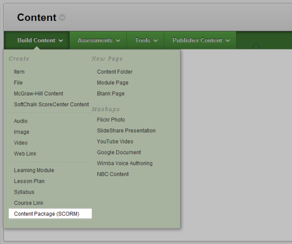 "Blackboard's ""Build Content"" drop-down, with ""Content package (SCORM)"" highlighted."