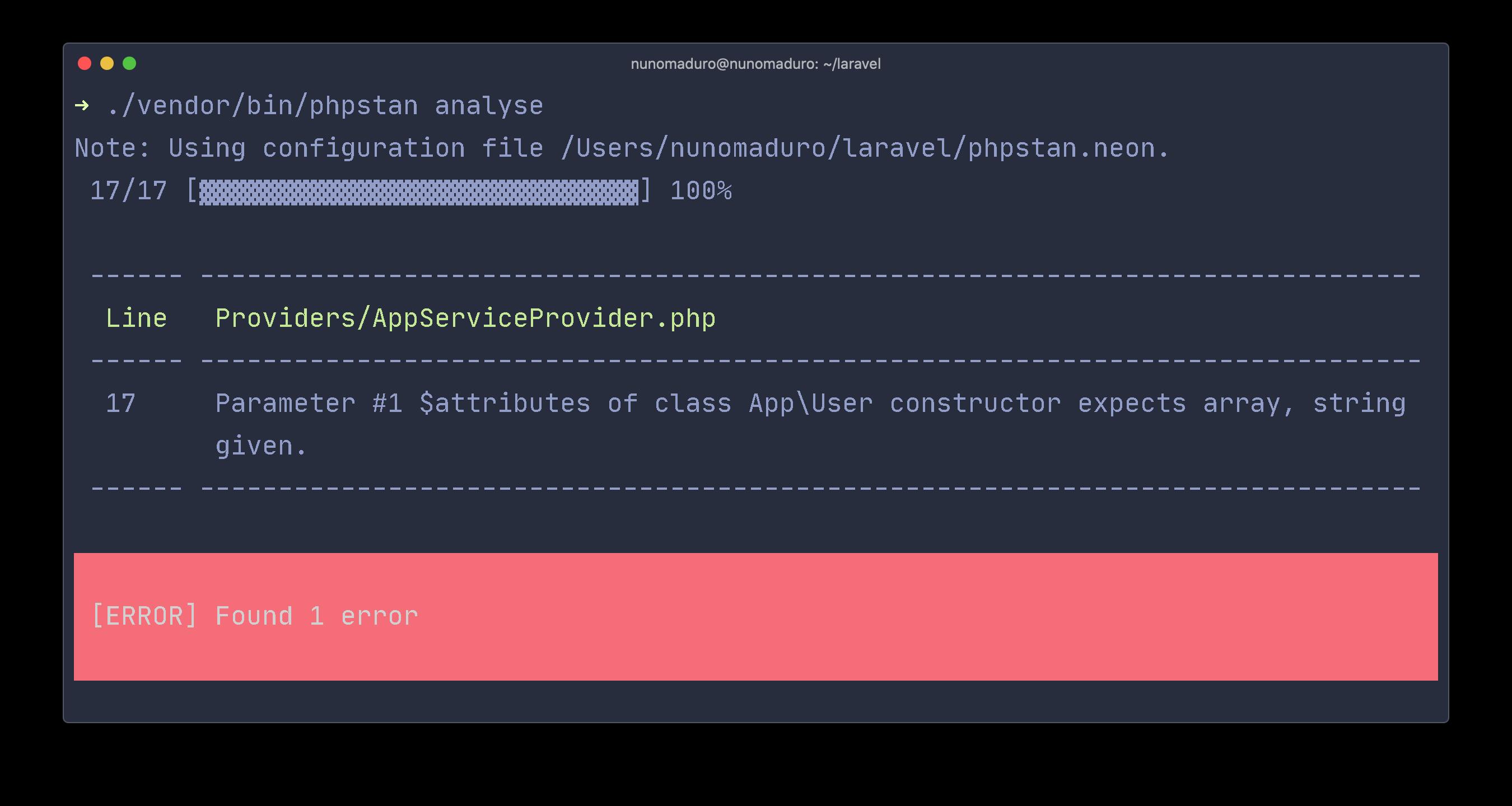 Laravel Code Analyse Example