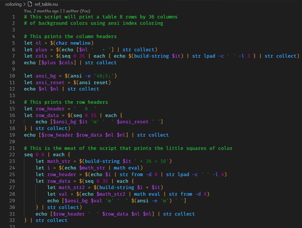 Nushell script with Nushell color theme