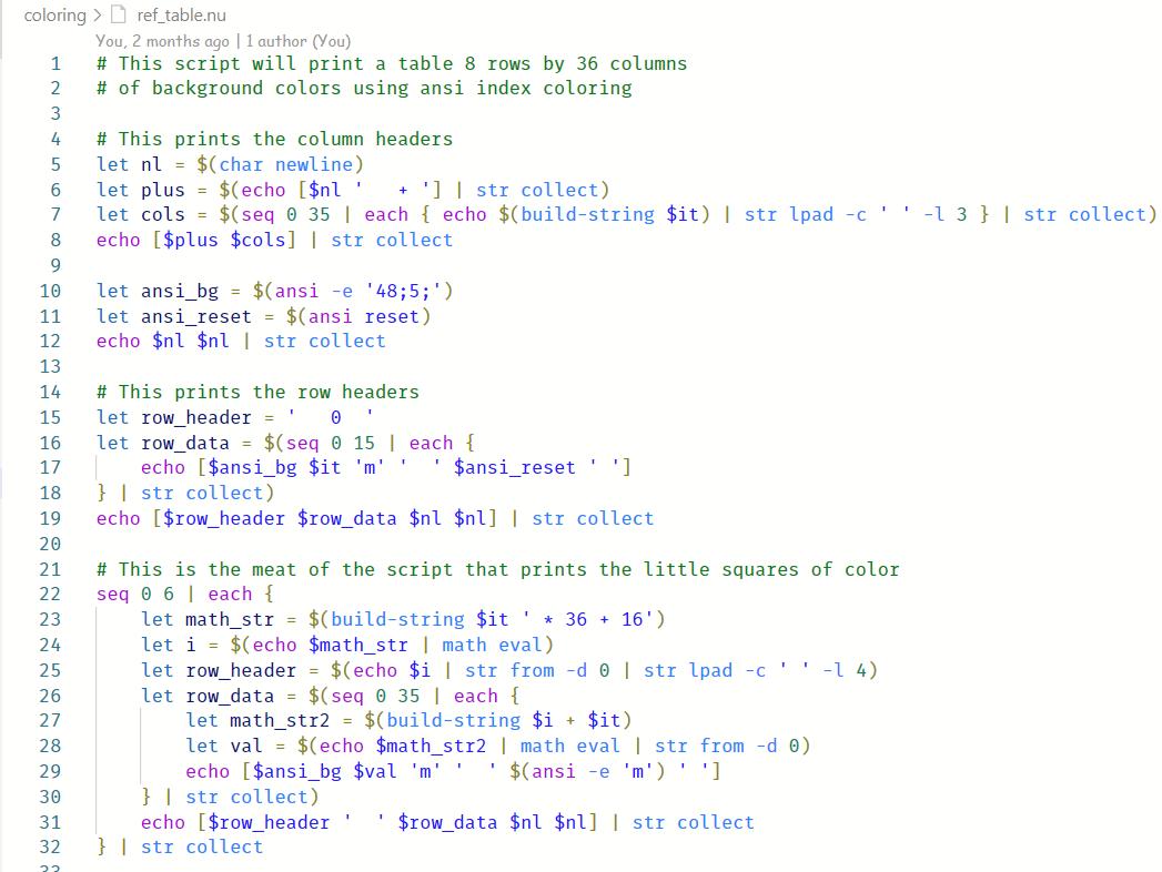 Nushell script with VSDark+ color theme