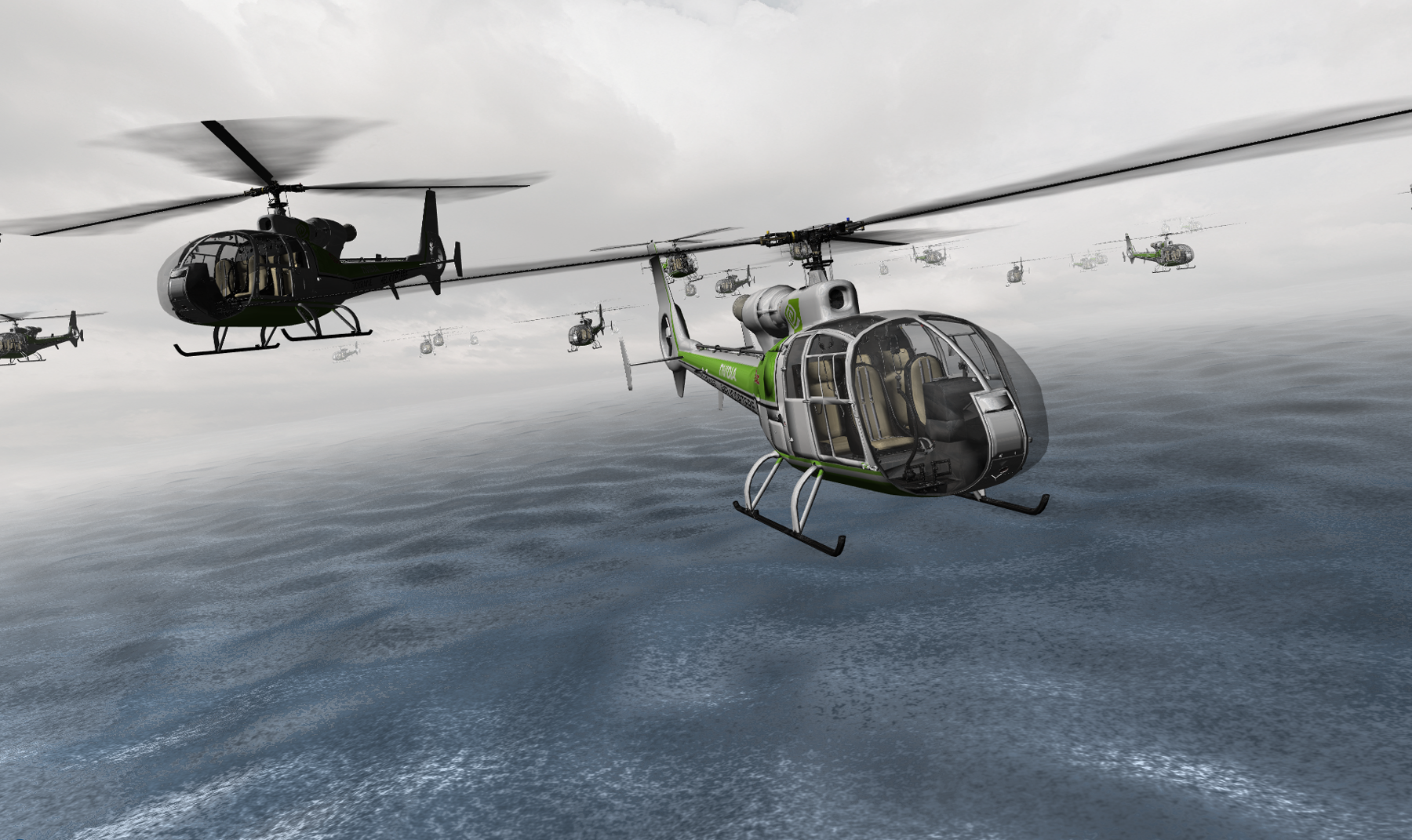 Sample screenshot: Helicopters fly through the sky above an ocean.