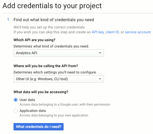 screenshot of Google's API options