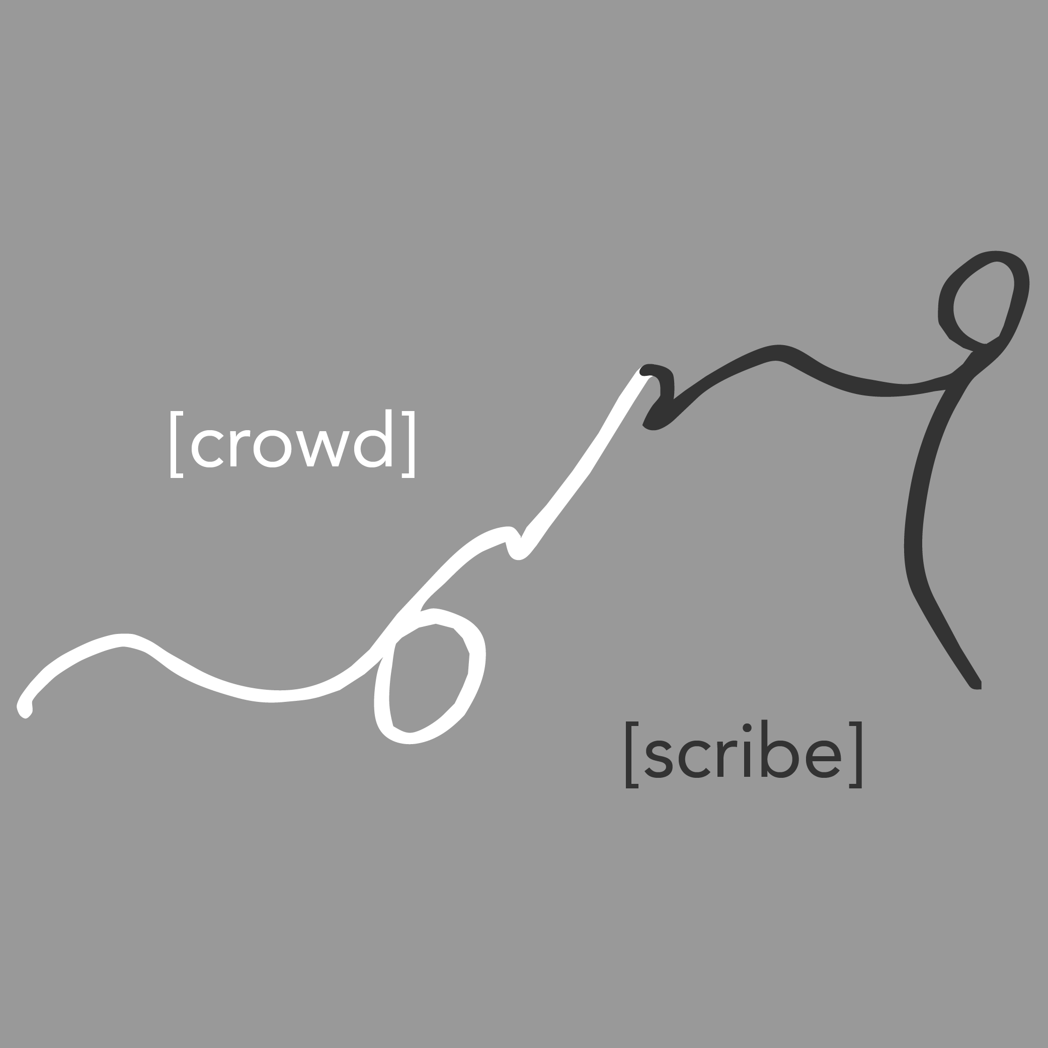 logo of crowd and scribe as written in shorthand