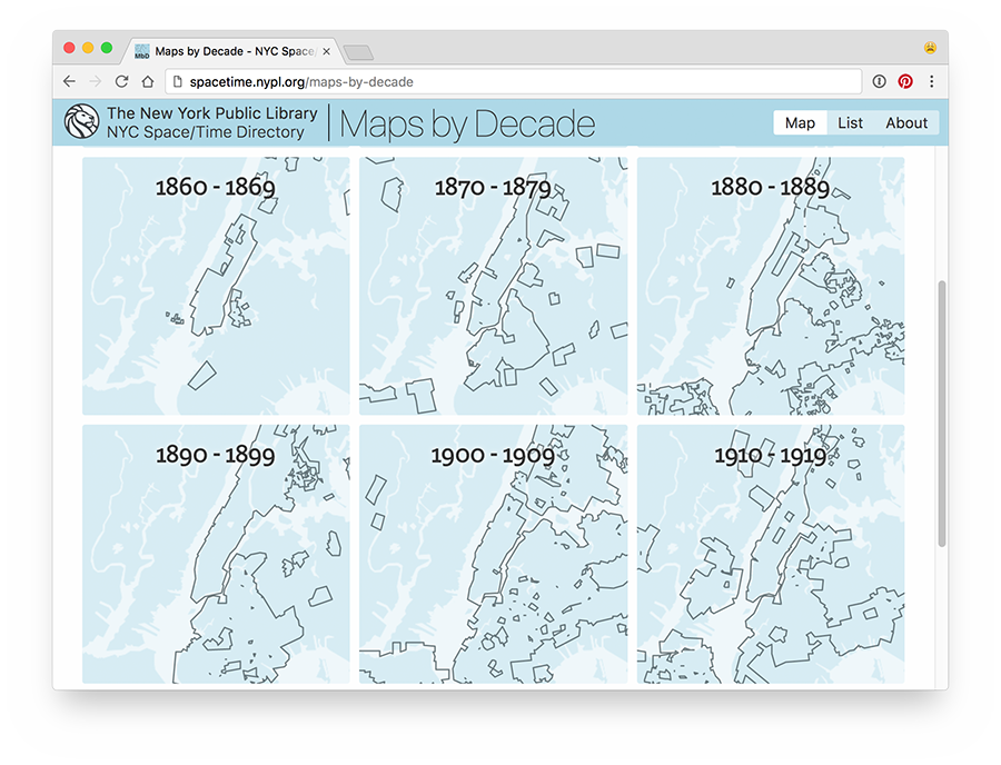 Screenshot of Maps by Decade