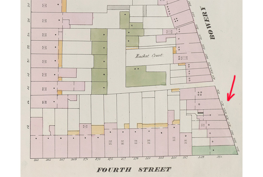 Part of 1875 map showing 374 Bowery in Manhattan