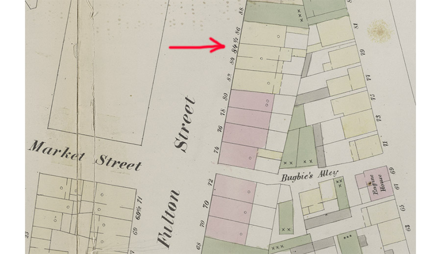 Part of 1855 map showing 84½ Fulton Street in Brooklyn