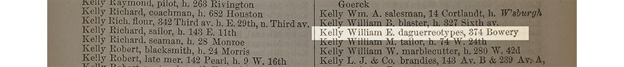 Scan of 1854 New York City Directory showing William E. Kelly's address
