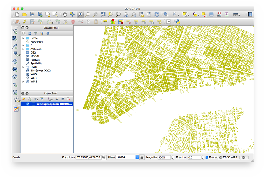 Building Inspector data displayed in QGIS