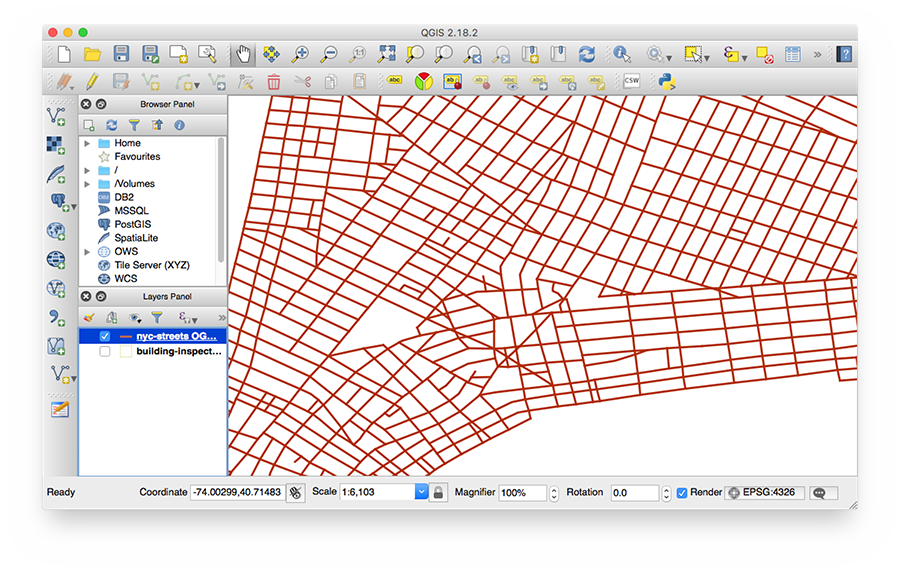 Street data displayed in QGIS