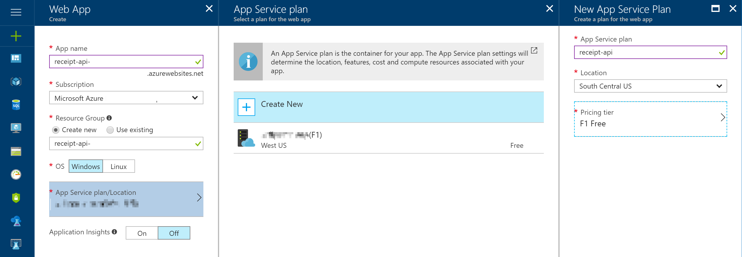create app service plan screenshot