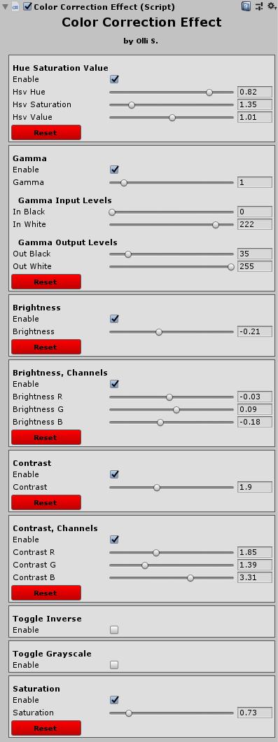 Color correction effect's UI