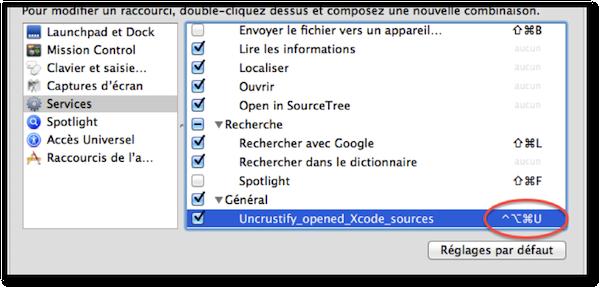 Choose service shortcut