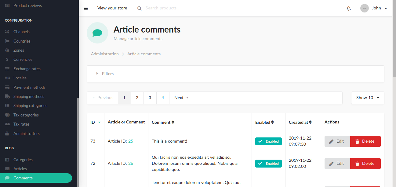 Blog admin article comments