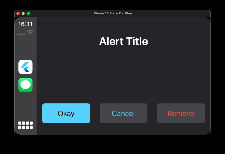 Flutter CarPlay Alert Template