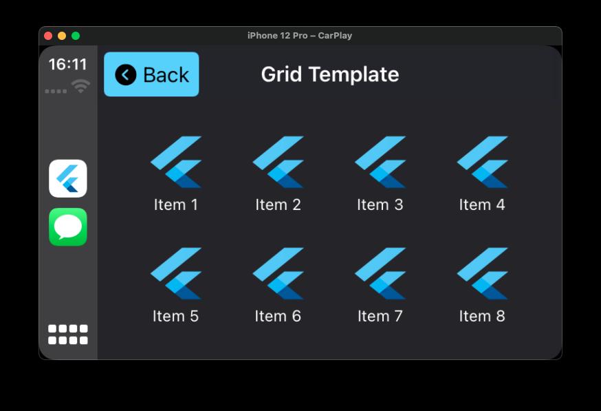 Flutter CarPlay Grid Template