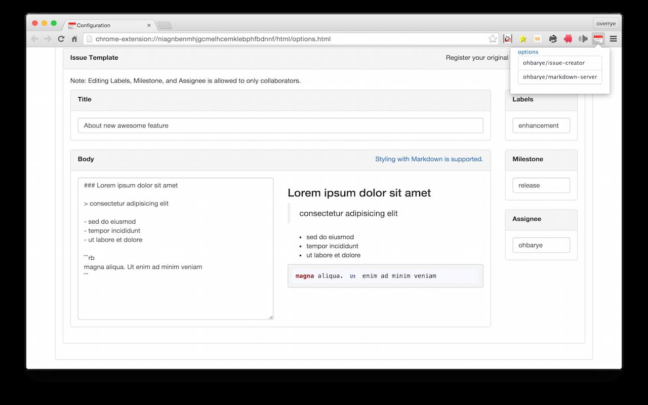 Github ohbaryegithub issue creator chrome extension to create create github issues with your original template maxwellsz