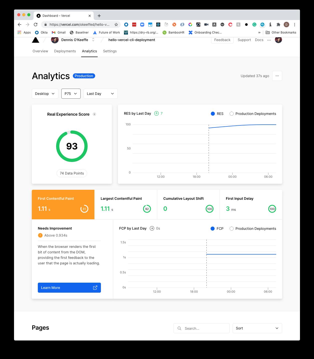 Vercel Analytics 75th percentile