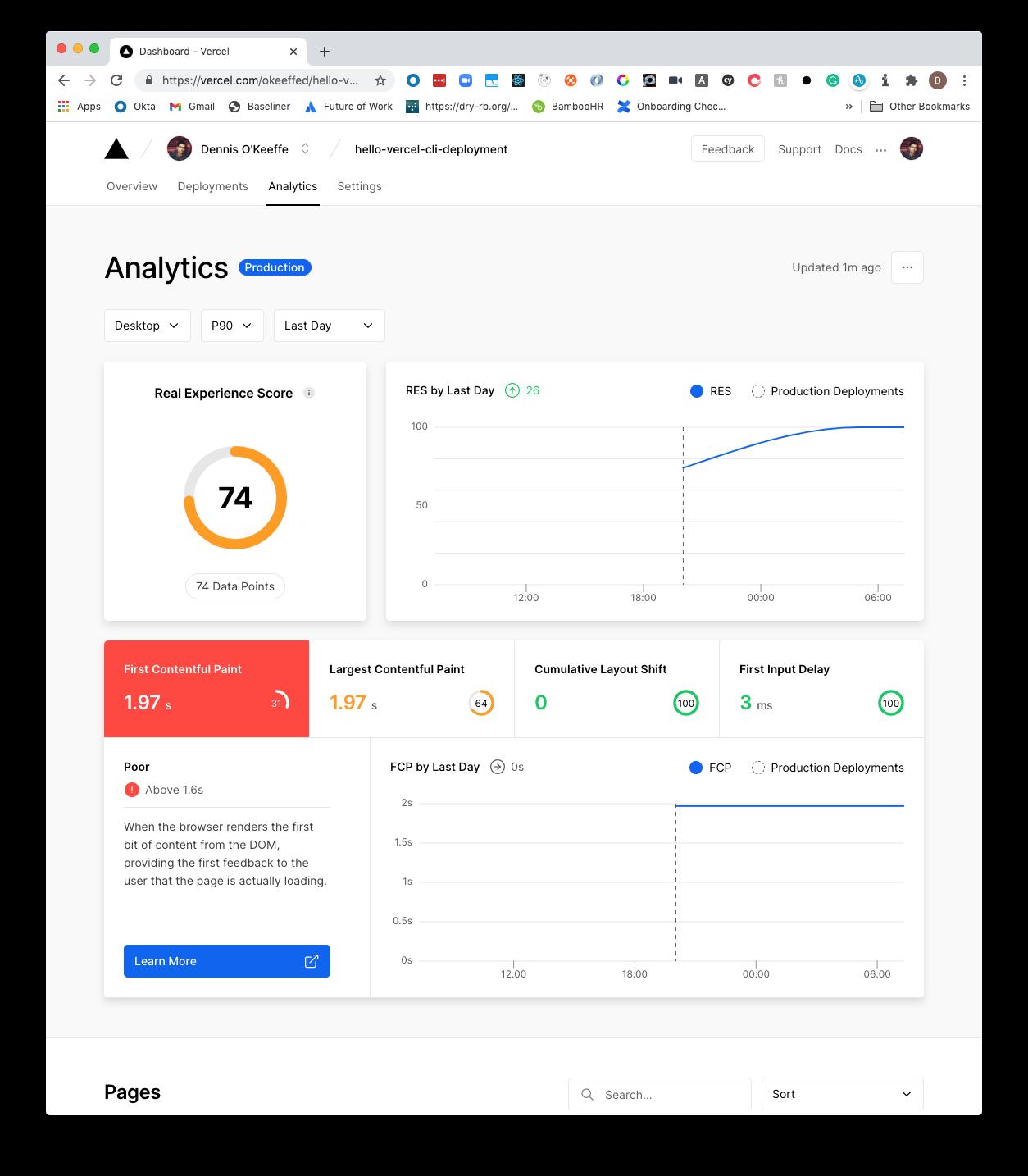 Vercel Analytics 90th percentile