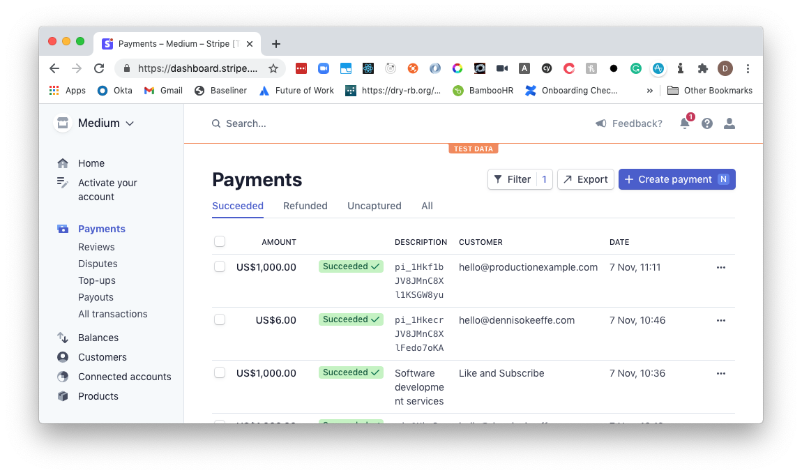 Production payment on the Stripe Dashboard