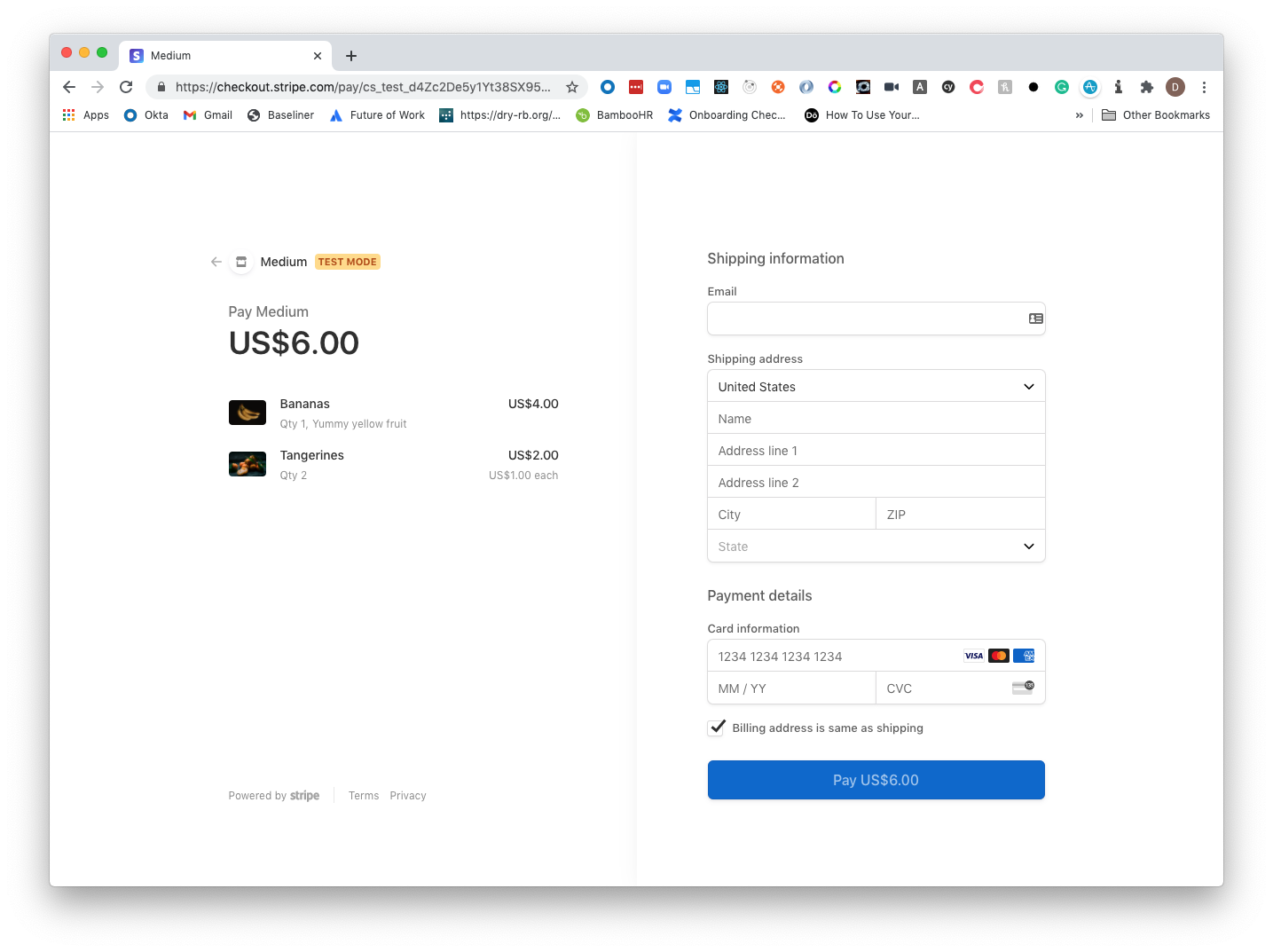 Checkout with shopping cart