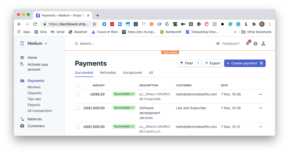 Payments in the dashboard