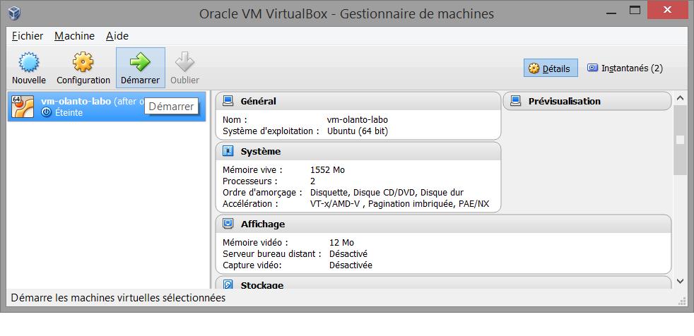 starting VM in VirtualBOx