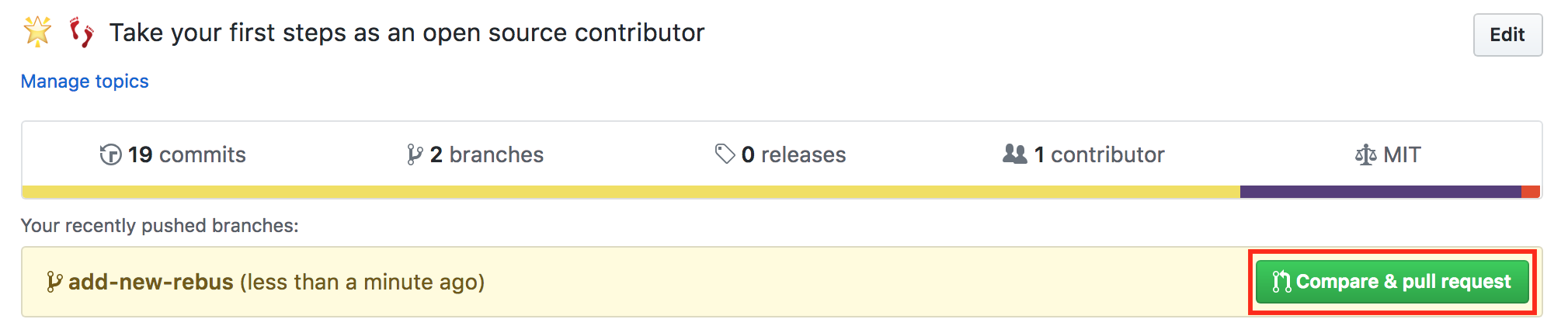 Compare and pull request
