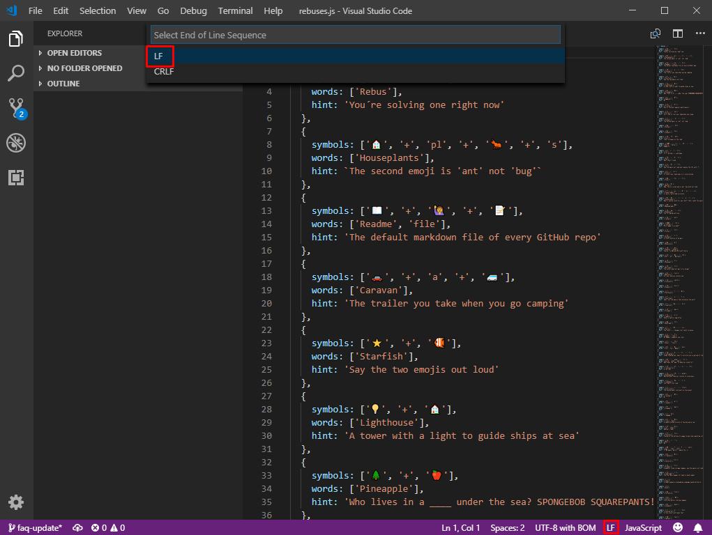 Visual Studio Code linebreaks