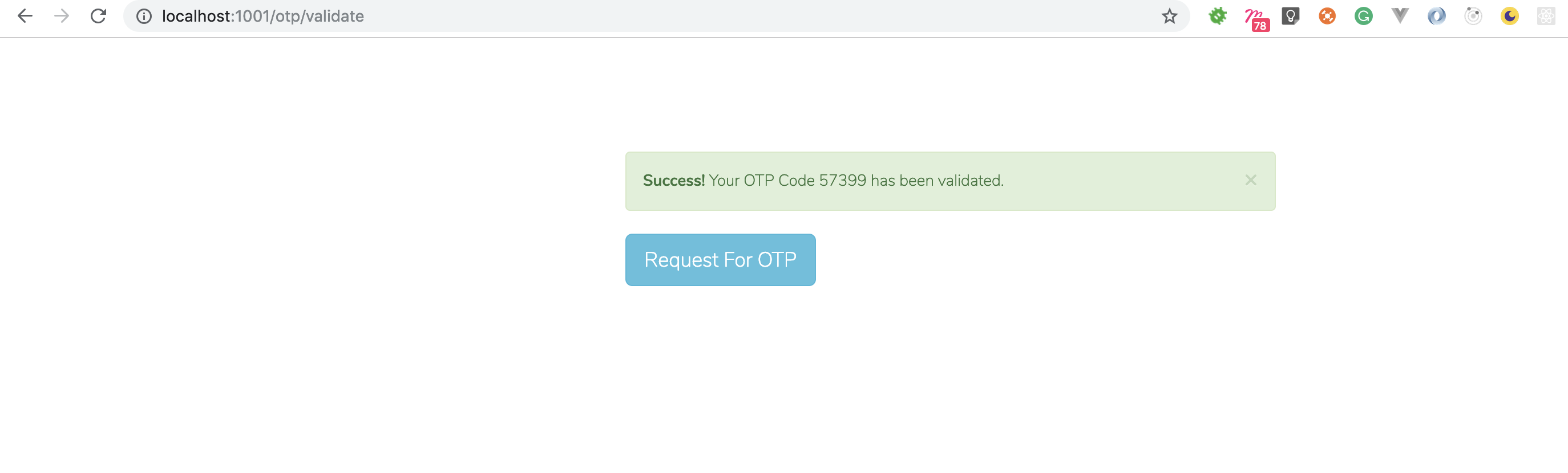 OTP Validation Success Page Image