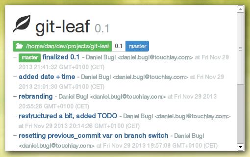 Screenshot: git-leaf 0.1