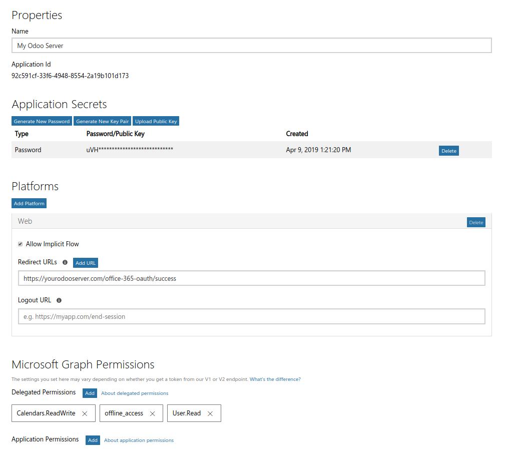 Screenshot Microsoft App Registration Portal