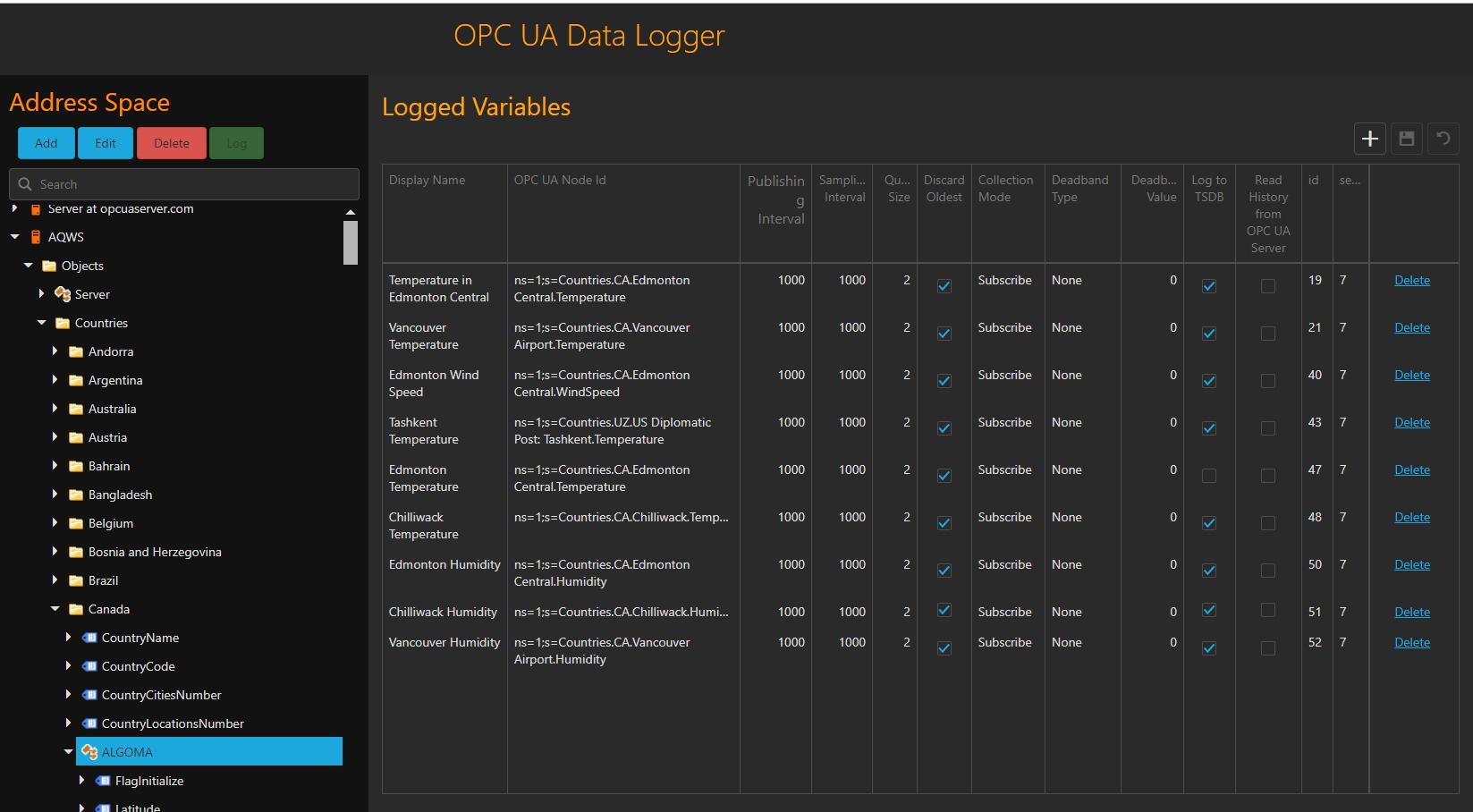 Configuration GUI Screenshot